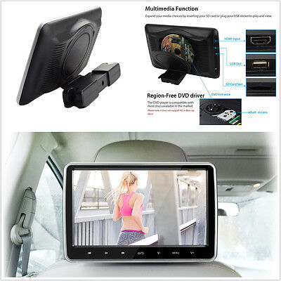 "10"" Car Headrest DVD Player Monitor Plug-and-Play Rear-Seat Entertainment System"