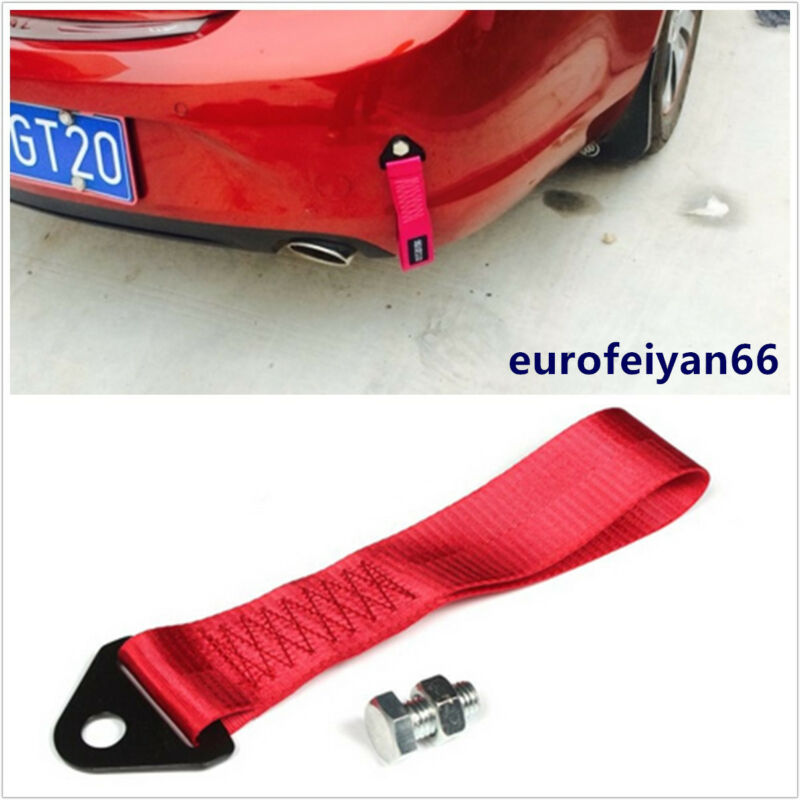 Red Nylon Automobiles Racing Front/Rear Bumper Tow Pull Rope Towing Strap Cable