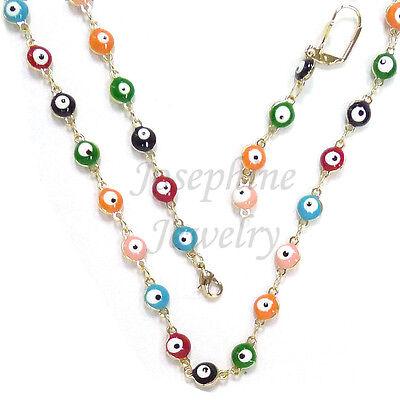 14k Gold Plated Multi Lucky Enamel Evil Eye Beads Necklace Bracelet Earring Set 14k Gold Plated Beads