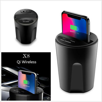 DC5V/2.1A USB Port Qi Wireless Charger Transmitter Cup Mount Holder For iPhone 8