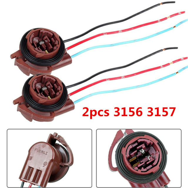 2pcs 3156 3157 LED Bulb Turn Brake Signal Lights Sockets Harness Wire Adapters