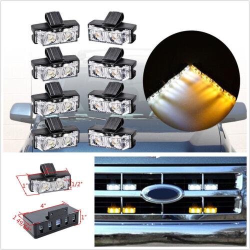 8 Pcs DC12V 2-LED Autos SUV Pickup Grille Emergency Beacon Flashing Light Strips