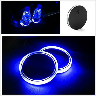 2 Pcs Led Acrylic Solar Energy Car Auto Cup Holder Plate Bottom Universal Blue