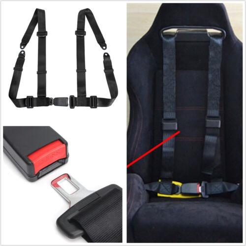 1 Pcs Black Nylon 4-Point Cars Autos Seat Belt Seatbelt Buckle Harness Strap Kit