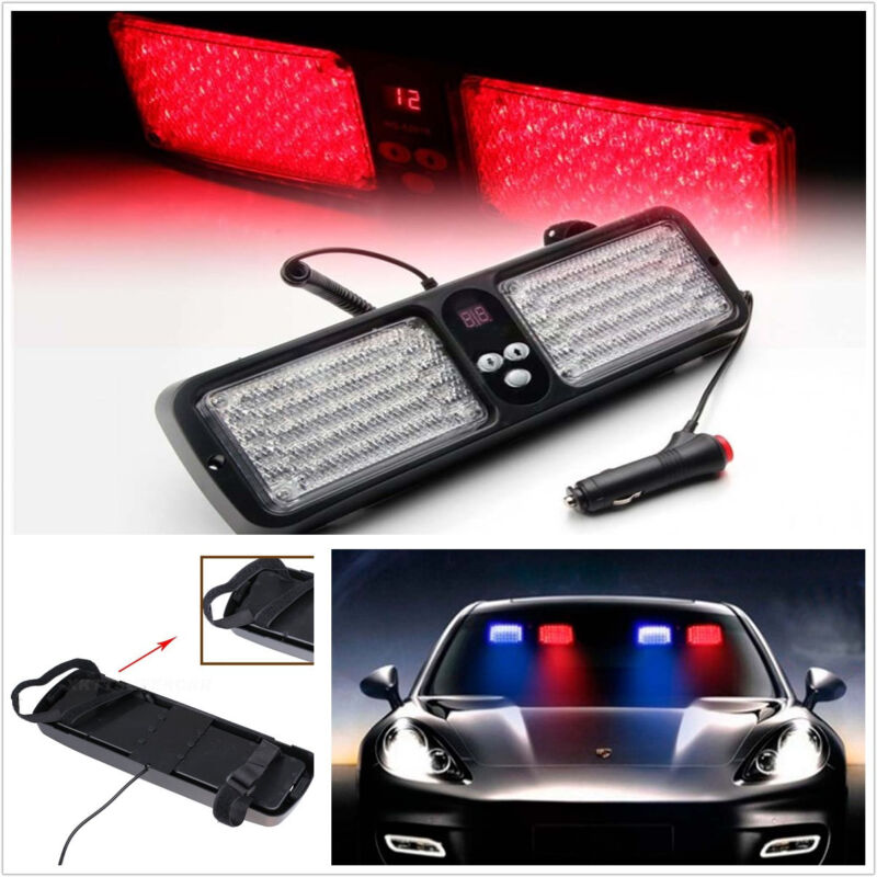 Red 86 LED Light Bar Lamp Emergency Warning Strobe Flashing Car Sun Visor Shield
