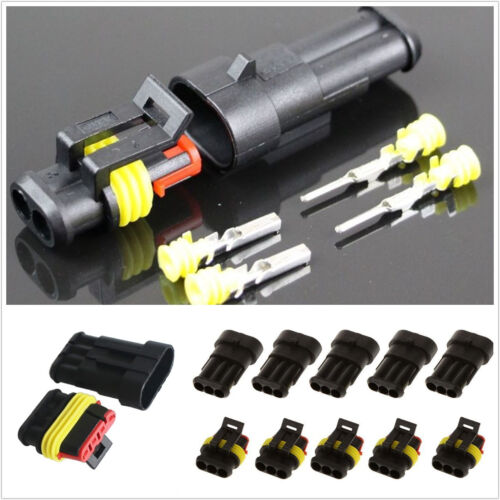 15 Set Plastic 2/3/4 Pins Car Off-Road Sealed Electrical Wire Connector Plug Kit