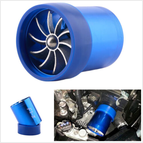Blue Aluminum Car Auto Double Fan Engine Turbo Air Intake Charger Gas Fuel Saver