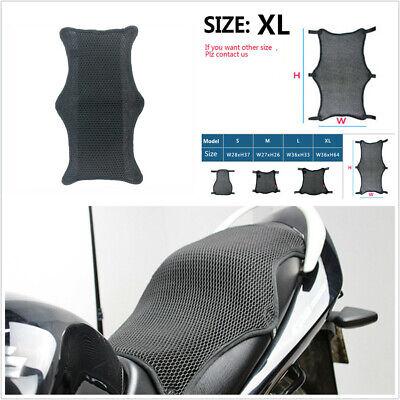 UNIVERSAL MOTORCYCLE SEAT COVER CUSHION XL BLACK 3D AIR MET MESH PAD A