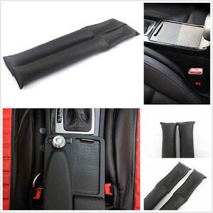 2 Pcs Artificial Leather & PP Cotton Auto Seat Gap Leakproof Soft Filler Black
