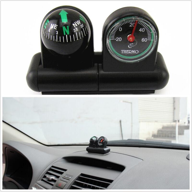 Black Portable 2in1 Car Interior Mini Compass & Temperature Meter For Honda CR-V
