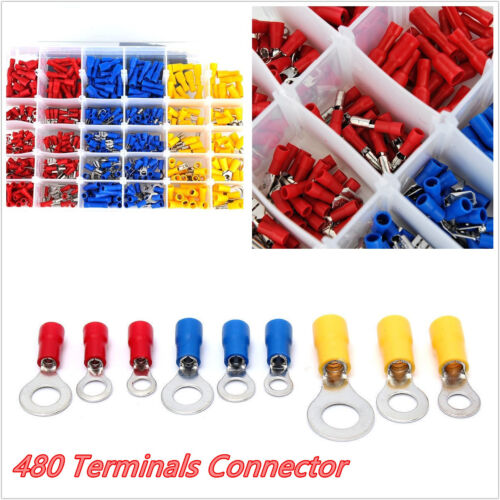 480 PCS/Set Car Assorted Insulated Crimp Terminals Electrical Wire Connector Box