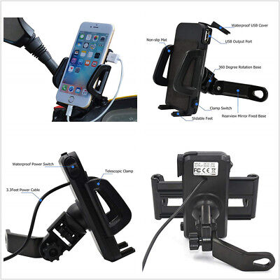 Phone & GPS Mount Holder with USB Charger For Electric Bike Scooter Motorcycle