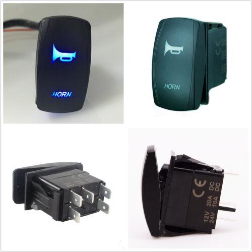 12V 20A 5-Pins Car Boat Marine Blue LED Light Horn Laser Rocker Switch Universal