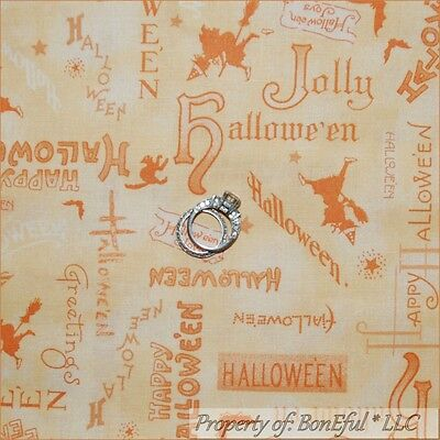 BonEful Fabric FQ Cotton Quilt Orange Peach Happy Halloween Word Cat Witch Toile - Orange Toile Fabric