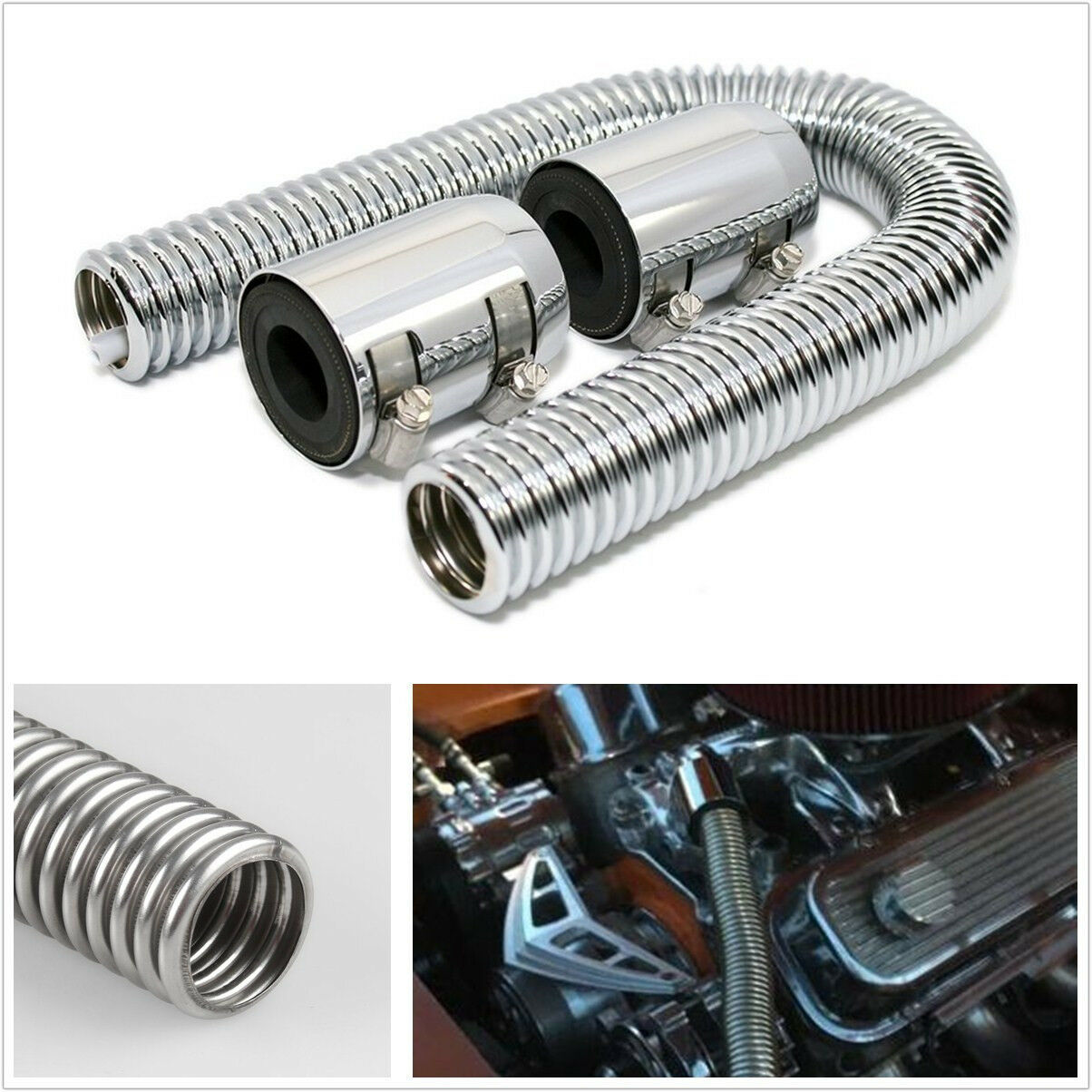 24 Inches Chrome Autos Off-Road Stainless Steel Radiator Coolant Water Hose Kit
