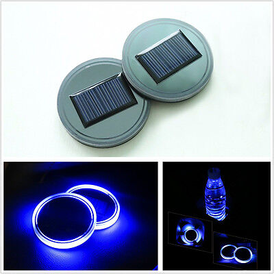 2 Pcs Cup Holder Solar Energy Charging Pad Blue Led Light Cup Mat For Car Suv