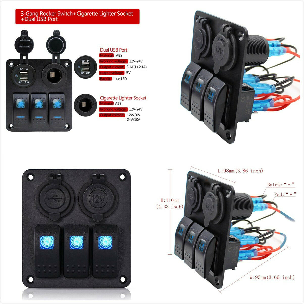 Waterproof 12/24V 3 Gang Car Truck Rocker Switch Panel Circuit Breaker Dual USB