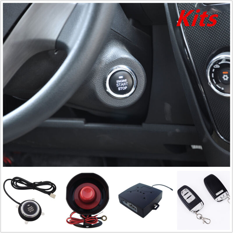 PKE Passive Keyless Entry Car Alarm Remote Start Push Button Start With Flip Key