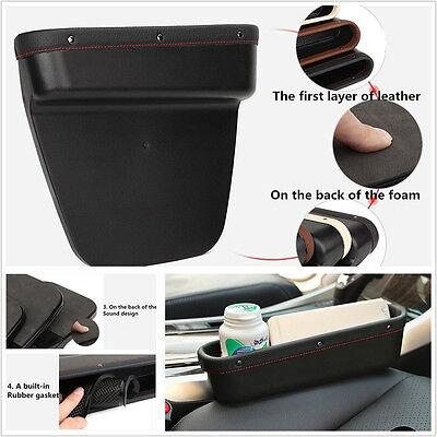 New Leather Vehicle Seat Crevice Leakproof Storage Box Seats Gap Organizer Black