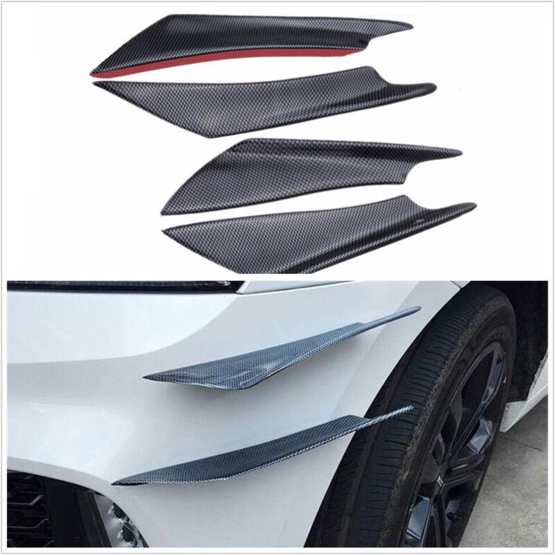 4 Pcs Black Autos Carbon Fiber Color Front Bumper Splitter Fins Spoiler Canards
