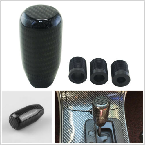 100% Real Carbon Fiber Manual Vehicle Straight Gear Shift Knob Shifter Kit Black