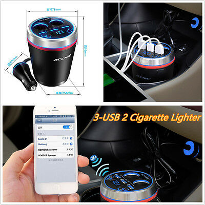 Car Wireless Bluetooth Kit Handsfree FM Transmitter Radio Player Voltage Display