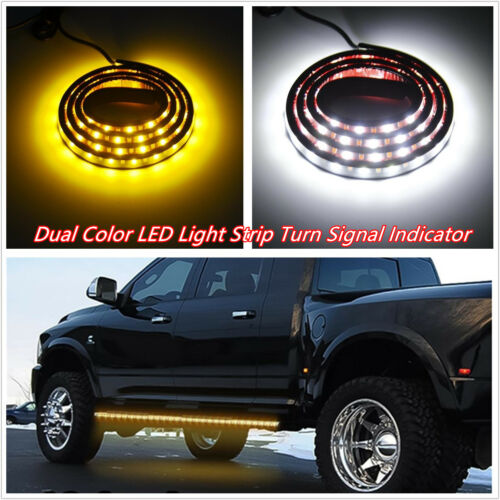2 X 48'' 120SMD LED Dual Color Car Off-Road Turn Signal Indicator DRL Strips 12V