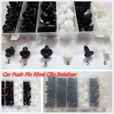 150 Pcs 6 Sizes Automobiles Plastic Push Body Retainer Pin Rivet Clips Fasteners