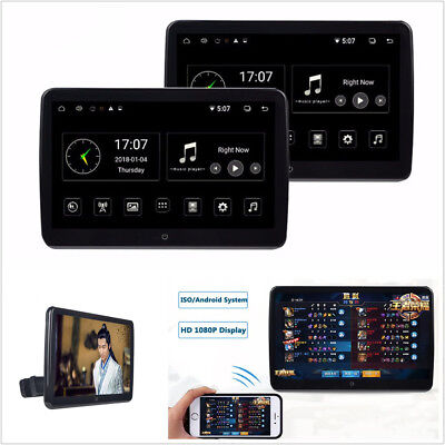"""2 X 12V 10.6"""" Touch Screen HD Car Headrest Monitor Wifi Dual 4 Code Android 6.0"""