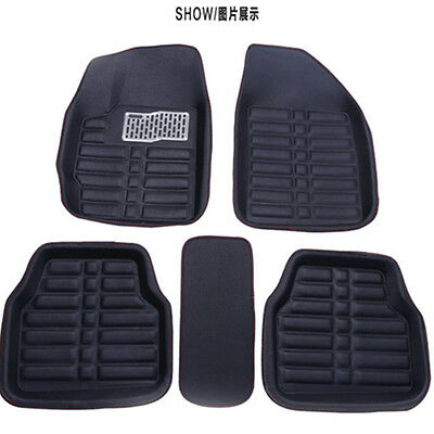 5pc Universal Car Floor Mats FloorLiner FrontRear Carpet All Weather Mat Black