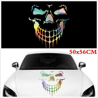 Large Skull Car Hood Body Side Vinyl Sticker Graphic Decal 50x56CM Laser Styling