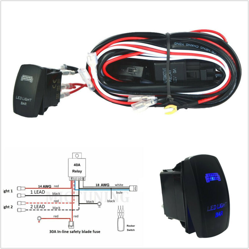 12-24V Max 300W Autos Working Lights Wiring Harness Relay Blue LED Switch On-Off