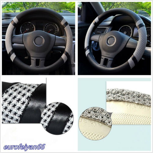 Grey 38cm/15'' Microfiber Leather Ice Silk Car SUV Steering Wheel Cover Antislip