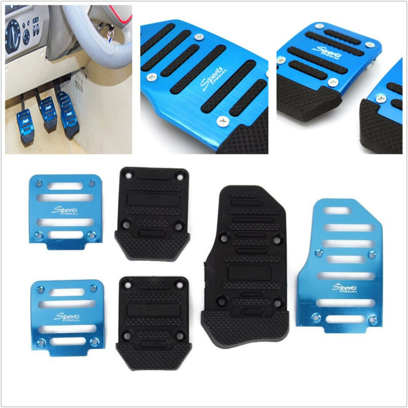 3 X Blue Aluminium Alloy & PVC Manual Motors Car Non-Slip Foot Brake Pedals Pads