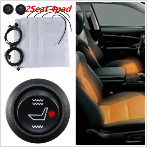 4X 2 Seats Universal Carbon Fiber Heated Cushion Seat Heater Pad Kit Switch 12V
