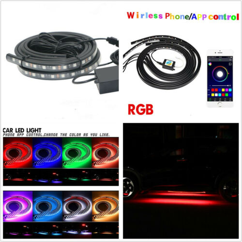 4 Pcs DC10-15V 7-Color RGB LED Car Autos Underbody Chassis Light Bar APP Control