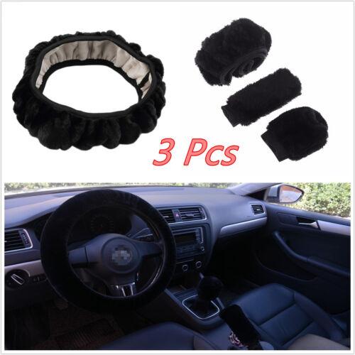 3 Pcs Black Imitation Wool Car Vehicle Steering Wheel & Handbrake Warm Cover Kit