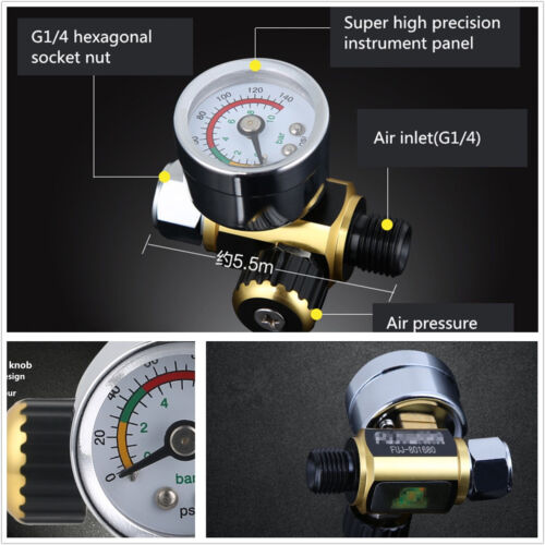 0-0.10Mpa G1/4 Car Metal Spray Paint Gun Air Adjustable Pressure Regulator Guage