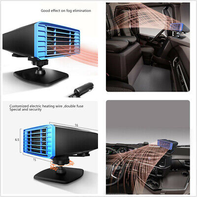 12V Car Dashboard Heater Heating Fan Demister 360° Rotation With Air Purifier