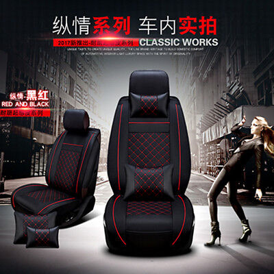 Deluxe Edition Auto Car Seat Cover Cushion 5Seats Car Front PU Leather w/Pillows ()