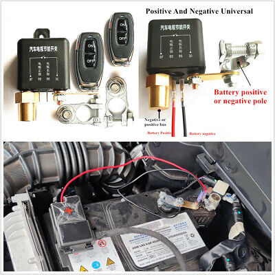 Integrated 12V Car Battery Disconnect Cut Off Master Kill Switch W/2pcs Remotes