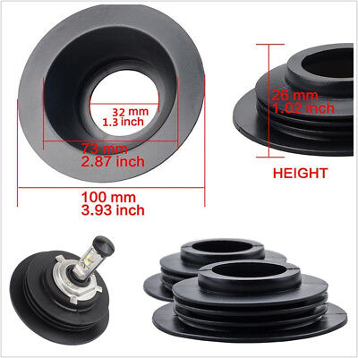 1 Pair Black Rubber Housing Seal Cap Dust Cover Universal For LED HID Headlight