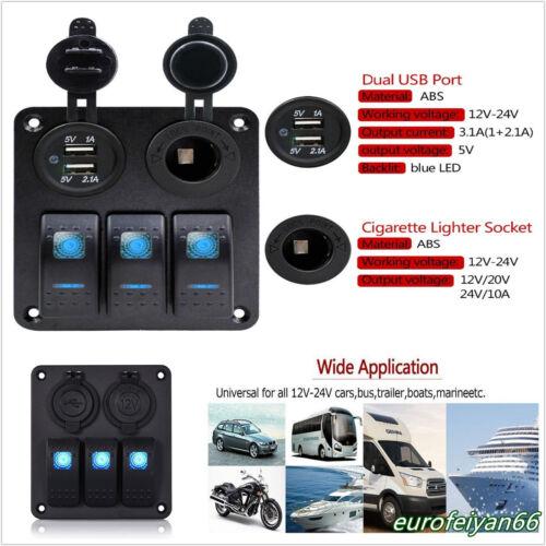 Waterproof 12/24V Car Off-Road Rocker Switch Panel Circuit Breaker Dual USB Kit
