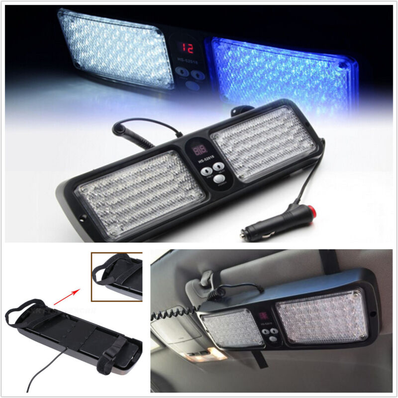 86LED BLUE/whiteBright Emergency Warning Strobe Flashing Car Sun Visor SunShield