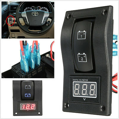 Dual Battery Test Panel Digital Voltmeter Battery Test Rocker Switch ON OFF ON