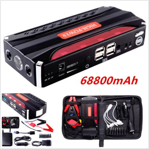 68800mAh 12V Car Jump Starter Power Bank Emergency Booster Battery Charger 4 USB