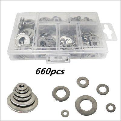 Washers set / 660 Stainless Steel Flat & Spring Washer assortment rust resistant