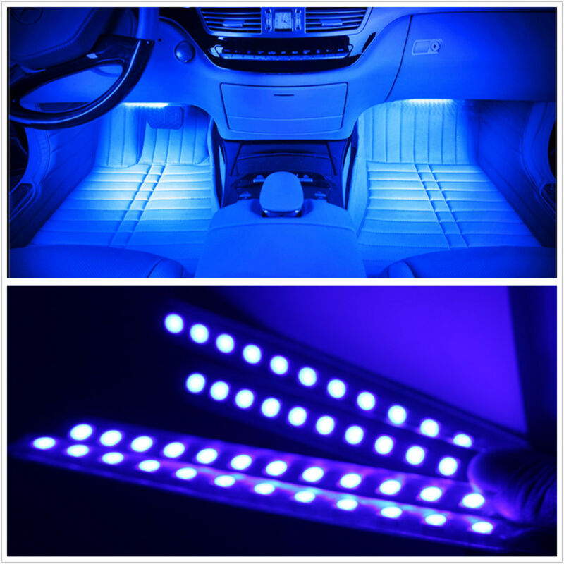 4Pcs BLUE 12 LED Car SUV 12V Footwell Interior Floor Decorative Atmosphere Light