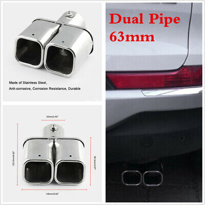 Stainless Steel 63mm Dual Car Exhaust Trim Tip Double Muffler Pipe Chrome Tail