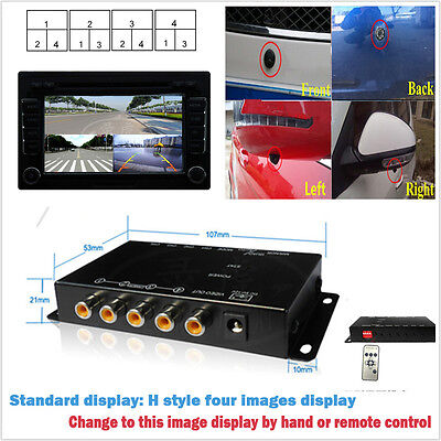 4 Way 4 View Image Split Car Video Switch Parking Camera Screen Control Box  16 Channel Active Video